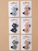 Card of 2 fabric flower motif clips (code 3761)